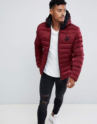 SikSilk puffer jacket with hood in burgundy