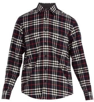 Burberry Lyndhurst Vintage Check Wool Blend Shirt - Mens - Navy