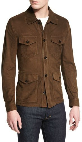 TOM FORD Lightweight Suede Button Jacket, Olive