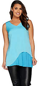 Halston H by Woven Sleeveless Tunic withPleated Detail