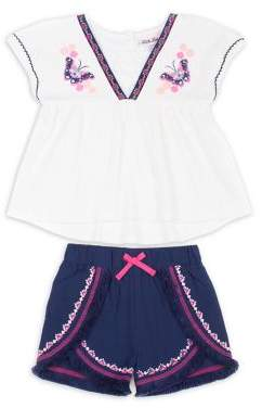 Little Lass Little Girl's Two-Piece Lace-Trim Top and Shorts Set
