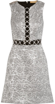 Michael Kors Collection - Embellished Metallic Brocade Mini Dress - Silver $2,995 thestylecure.com