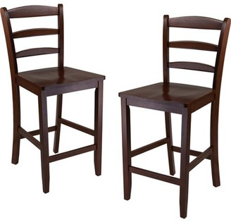 Winsome Wood Benjamin Ladder-Back Counter Stools, Set of 2, Walnut Finish
