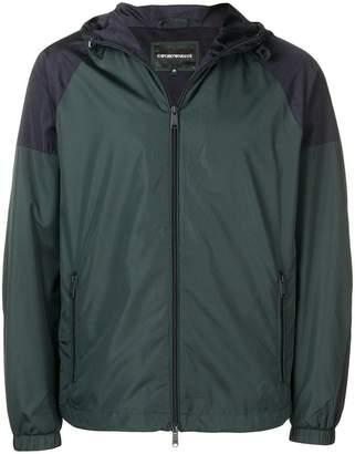 Emporio Armani colour block hooded jacket
