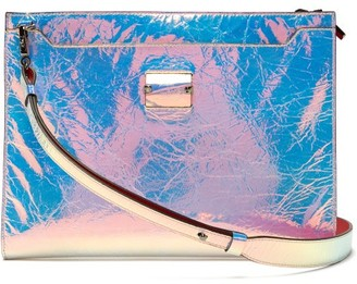 218b8cf995 Christian Louboutin Skypouch Iridescent Patent Leather Pouch - Mens - Silver