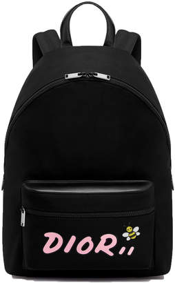 Christian Dior Rider Backpack x Kaws With Pink Logo Nylon Black