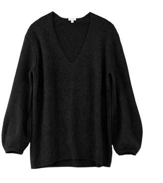 Cuyana Oversized Ribbed V-Neck Sweater