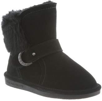 BearPaw Kid's Koko Boots, Black Suede, Sheepskin, 4 Big Kid M