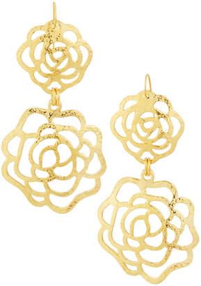 Jose & Maria Barrera Hammered Double Rose Drop Earrings