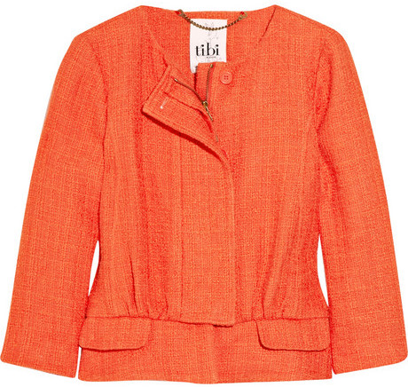 Tibi Basketweave cotton-blend jacket