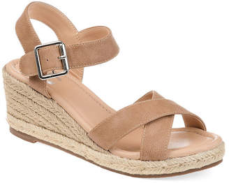 Journee Collection Womens Dryden Pumps Buckle Open Toe Wedge Heel