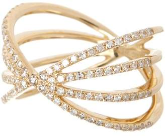 Ef Collection 14K Yellow Gold Pave Diamond Sunburst Ring - Size 3 - 0.04 ctw