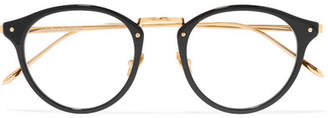 Linda Farrow Round-frame Acetate And Gold-tone Optical Glasses