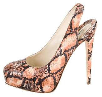 Brian Atwood Snakeskin Slingback Pumps
