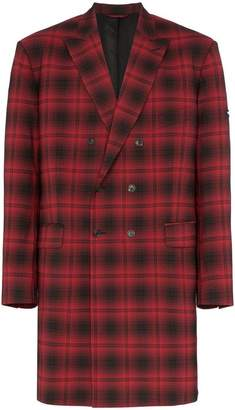 Balenciaga oversized checked wool double breasted coat