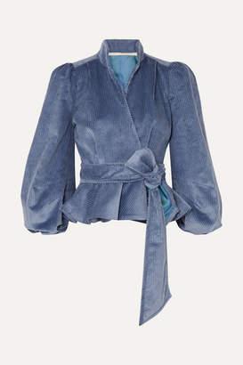 Anna Mason - Stella Cotton-corduroy Wrap Jacket - Blue