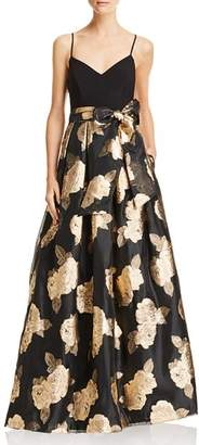 Eliza J Metallic Floral Ball Gown