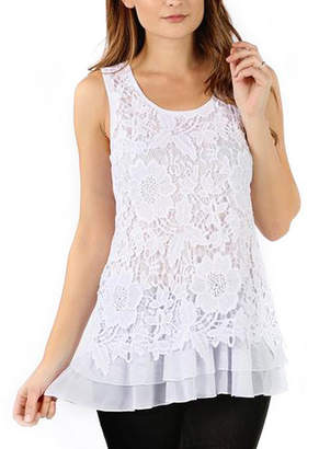Asstd National Brand Floral Crochet Layered Tank