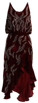 Dodo Bar Or Agnes Bead Embellished Velvet Dress - Womens - Dark Red