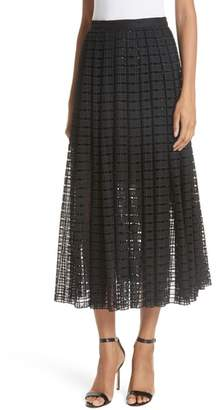 Tracy Reese Lace Mesh Midi Skirt
