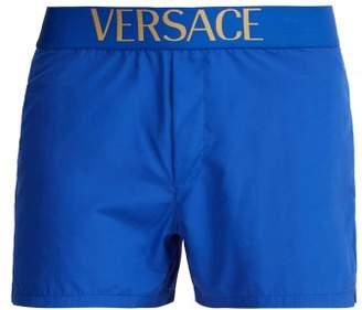 Versace Logo Jacquard Swim Shorts - Mens - Blue