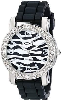 XOXO Women's XO8058 Rhinestones Accent Black Silicone Strap Watch