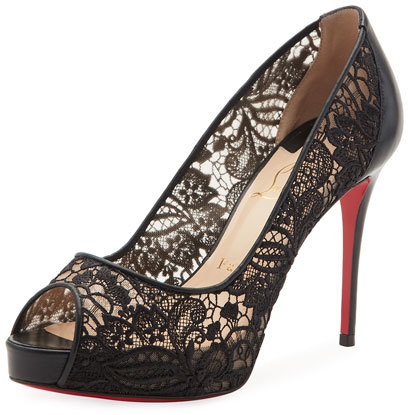 Christian Louboutin  Christian Louboutin Very Lace Peep-Toe Red Sole Pump, Black