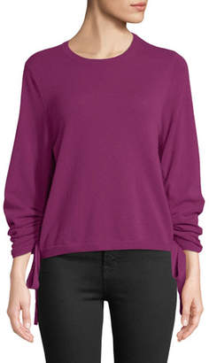 Autumn Cashmere Drawstring-Sleeve Crewneck Cashmere Sweater