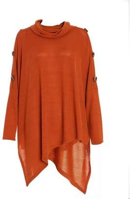 Quiz Womens *Quiz Rust Asymmetric Cowl Neck Top