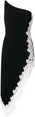 David Koma lace trim one shoulder dress