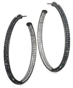 "Adriana Orsini Two-Tone Pave Swarovski Crystal Hoop Earrings/1.5"""
