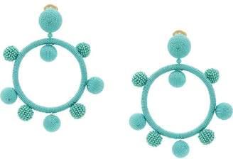 Oscar de la Renta silk ball hoop clip-on earrings