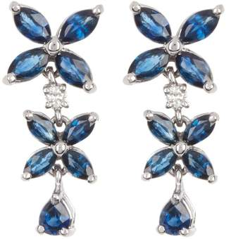 Effy 14K White Gold Blue Sapphire & Diamond Drop Earrings