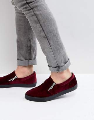 Asos DESIGN Slip On Sneakers In Burgundy Velvet With Zips
