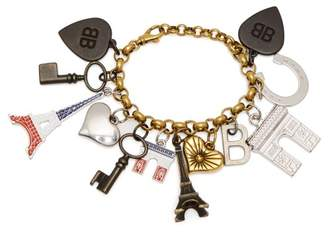 Balenciaga Paris Charm Embellished Chain Bracelet - Womens - Multi