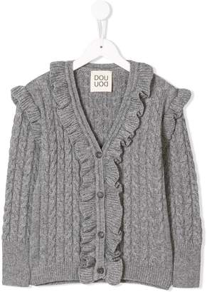 Douuod Kids cable knit buttoned cardigan