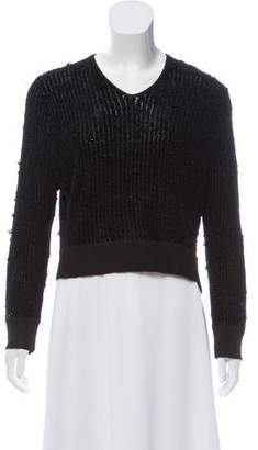 Theyskens' Theory Textured V-Neck Sweater