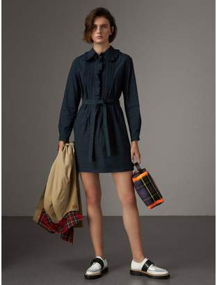Burberry Pintuck Detail Tie-waist Tartan Cotton Tunic Dress