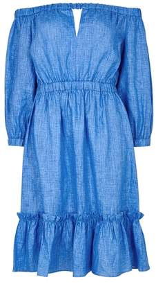 Milly Blue Off-the-shoulder Linen Dress