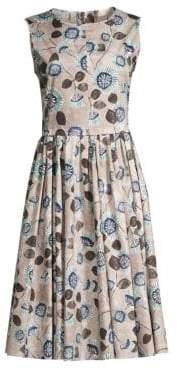 Max Mara Rugiada Sunburst Floral A-Line Dress