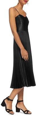 Whistles Pleated Satin Midi Dress