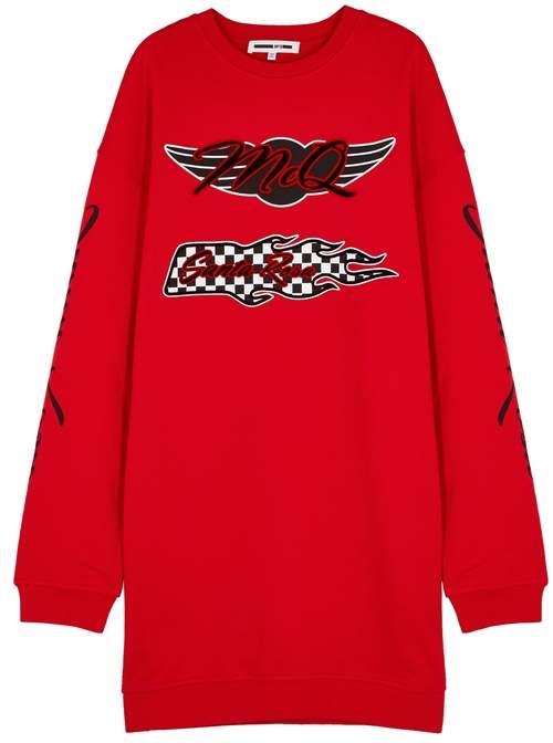 Red Printed Cotton Sweatshirt Dress