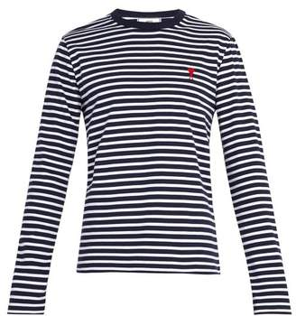 Ami Logo Embroidered Striped Long Sleeve T Shirt - Mens - Blue