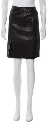 Armani Collezioni Leather Knee-Length Skirt Black Leather Knee-Length Skirt