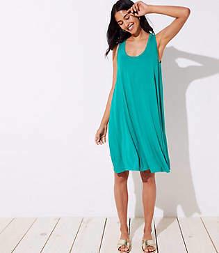 LOFT Petite Mixed Media Sleeveless Swing Dress