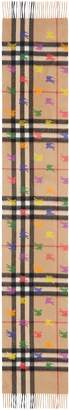 Burberry Classic Check & Rainbow Knight Cashmere Scarf