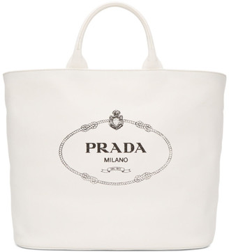 Prada White Oversized Canvas Tote