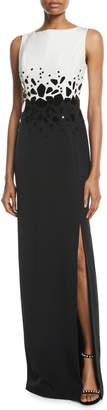 Atelier Caito For Herve Pierre Sleeveless Embroidered Silk Crepe Column Evening Gown