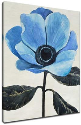 "Ready2HangArt, 'Elegant Poppy Iii' Blue Floral Canvas Wall Art, 40x30"""