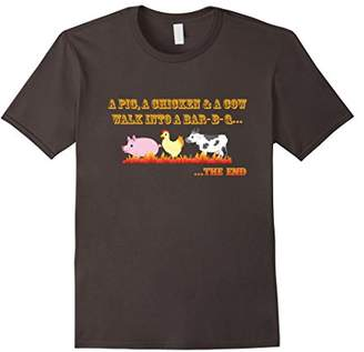 BBQ Joke T-Shirt Funny A Pig Cow Chicken Go To A Barbecue